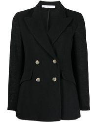 Harris Wharf London Double-breasted Blazer Jacket - Black