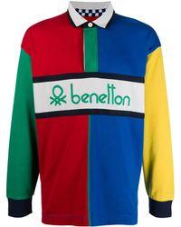 Benetton Colour Block Polo Shirt - Blue