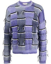 Marni Distressed-effect Crew-neck Jumper - Purple