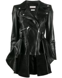 Alexander McQueen Peplum-hem Asymmetric Biker Jacket - Black