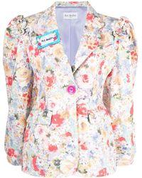 Art Dealer Floral-print Cotton Blazer - Multicolour