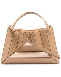 Mlouye Geometric-effect Leather Tote Bag - Brown