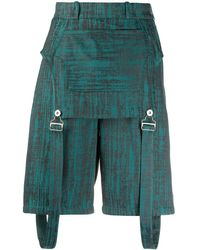 Thebe Magugu Patterned Dungaree Shorts - Green