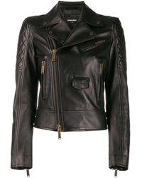 DSquared² Zip Panelled Biker Jacket - Black