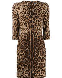 Dolce & Gabbana Leopard Print Mini Shift Dress - Brown