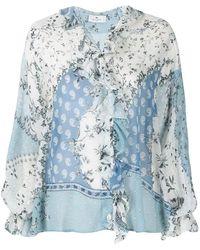 Etro Ruffle-trimmed Mix-print Chiffon Shirt - Blue