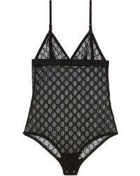 Gucci GG Tulle Bodysuit - Black