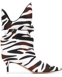 The Attico Zebra-print Slouch Ankle Boots - Brown