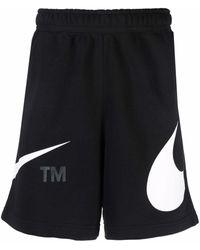 Nike Logo Print Track Shorts - Black