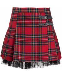 RED Valentino Tartan-print Pleated Kilt Mini Skirt - Red