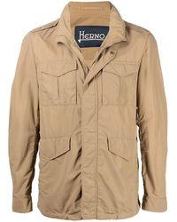 Herno Multi-pocket High-neck Jacket - Natural