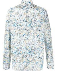 Xacus Floral-print Cotton Shirt - Blue