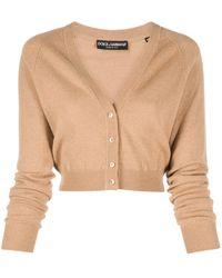 Dolce & Gabbana Cropped V-neck Cardigan - Brown