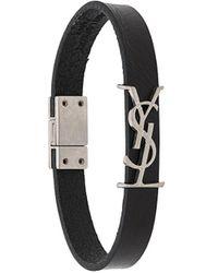 Saint Laurent Leather Bracelet - Black