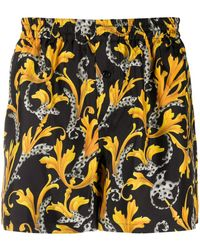 Versace Baroque Print Silk Boxers - Black