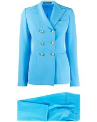 Tagliatore Fitted Double-breasted Suit - Blue