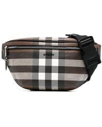 Burberry Check Pattern Belt Bag - Brown
