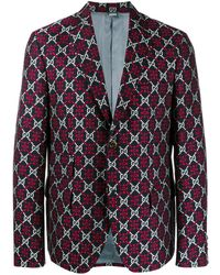 Gucci GG Diamond-pattern Blazer - Blue