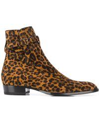 Saint Laurent Wyatt Jodhpur Leopard Boots - Brown