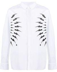 Neil Barrett - Thunderbolt-print Cotton Shirt - Lyst