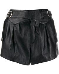 Saint Laurent High Waist Leather Shorts - Black