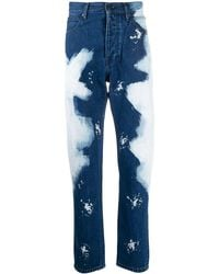 CALVIN KLEIN JEANS EST. 1978 Bleached Straight-leg Jeans - Blue