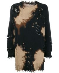 R13 Distressed Jumper With Safety Pins - Black