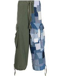 Greg Lauren Contrast Cargo Trousers - Blue