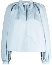 Jil Sander Puff Sleeve Cotton Shirt - Blue