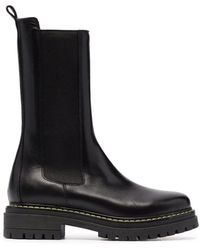 Pinko Chunky Leather Ankle Boots - Black