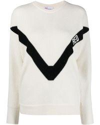 RED Valentino Chevron Knitted Sweater - White