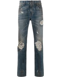 B-Used Mid Rise Distressed Jeans - Blue