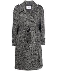 Paltò Herringbone Button Coat - Black