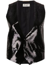 Saint Laurent Sequin-embellished Waistcoat - Black