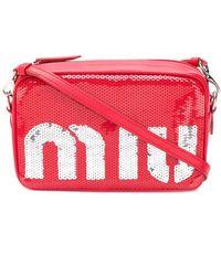 Miu Miu Sequin Shoulder Bag - Red