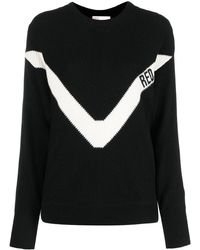 RED Valentino Logo-print Knitted Sweater - Black