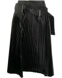 Junya Watanabe Asymmetric Pleated Skirt - Black