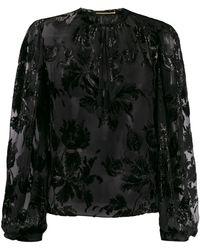 Saint Laurent Shiny Floral-embroidered Blouse - Black