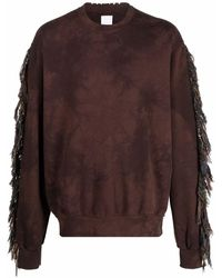 Alchemist Fringed Crew-neck Sweatshirt - Brown