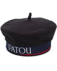 Patou Logo Trim Beret - Black