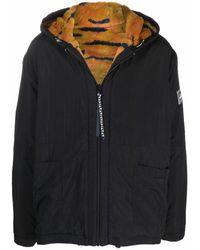 Aries Tiger Faux Fur Lining Hooded Jacket - Black