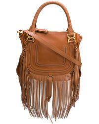 Chloé Marcie Fringe Medium Leather Satchel - Brown