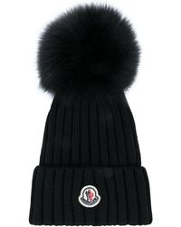 Moncler Pompom Detailed Ribbed Beanie - Black
