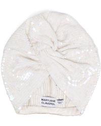 MaryJane Claverol Iridescent Sequin Turban - White