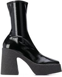 Stella McCartney Square-toe Platform Boots - Black