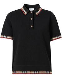 Burberry Check Trim Short-sleeve Polo Shirt, Brand - Black