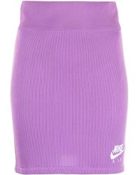 Nike Nsw Ribbed Fitted Skirt - Purple