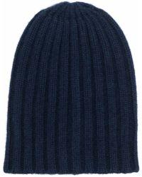 Laneus Ribbed-knit Cashmere Beanie - Blue