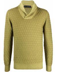 Tagliatore Shawl Collar Knit Sweater - Green