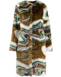 Marco De Vincenzo Faux Fur Wave Print Coat - Brown